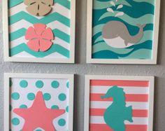 Mar vivero arte playa temática enmarcada juego de 4 8 x 10 bebé hecho a mano papel arte moderno vivero teal coral ballena Caballito de Mar estrellas de mar chevron náutica