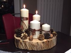 Untitled Christmas Advent Wreath, Christmas Candle, Christmas Table Decorations, Christmas Crafts, Christmas World, Advent Candles, Christmas Interiors, Theme Noel, Winter