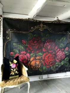 Floribunda 6x8' backdrop painting of blooming  Roses  Jennifer Lanne