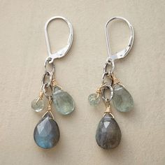 """HANALEI EARRINGS--Wrapped in 14kt gold filled, gems cascade from hammered sterling silver links. These artisan labradorite and aquamarine earrings are ours exclusively. Lever back wires. Handmade in USA. 1-3/4""""L."""