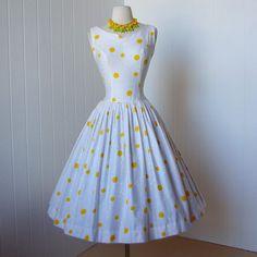 1950s Yellow Polka Dots. Love!