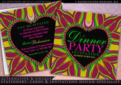 Customizable unique dinner party invitations Groovy baby!! Girls night out dinner party design, customizable invites in deep pinks, yellow and bright green. Hippie Bohemian party invite design fusion with colourful psychedelic 60s style energy you can easily personalize for any event ~ this unique dinner party invitations would also suit as …Sha…