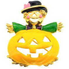 Halloween Enamel Yellow Pumpkin Brooch Pin 1004922
