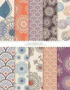 Patterns, Orange, Plum, Perriwinkle