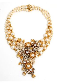 Miriam Haskell  American designer of amazing costume jewellery. Best pieces from 40's - 60's  This necklace is a lovely example of her wonderful pearls which had an almost unique deep lustrous  deep creamy hue. Statement necklaces, many ott, but fabulous