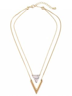 Triangle Stone Layered Necklace - GOLDEN