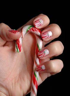 red, white, and green candy cane nails