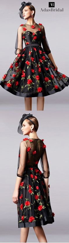 In Stock Romantic Tulle Jewel Neckline A-Line Homecoming Dresses With 3D Flowers