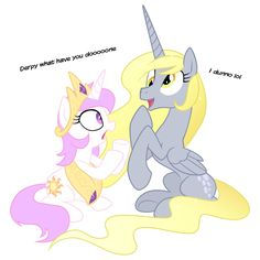 Princess Celestia and Derpy Hooves switched places shocker! But Derpy is a pegusus