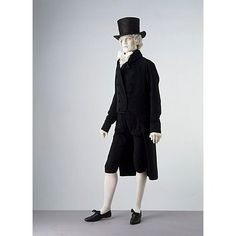 The sombre colour of this suit befits the sober profession of its wearer, Thomas Coutts (1735-1822), the founder of Coutts Bank. The notched collar and cut-away front of the coat reflect early 19th-century fashions. On the other hand, the old-fashioned breeches are appropriate for Mr Coutts's advanced age.