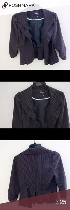 Pinstripe blazer Black blazer with pinstripes. Brand is My Michelle. Has belt loops. Peplum style and scrunched arms My Michelle Jackets & Coats Blazers