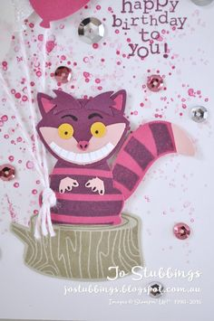 Jo's Stamping Spot - #WWYS75 Cheshire Cat made using Foxy Friends by Stampin'…