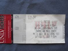 Phish, Thomas and Mack Center (Las Vegas), 2/15/2003, 39.50