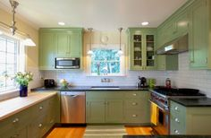 green for kitchen cabinets
