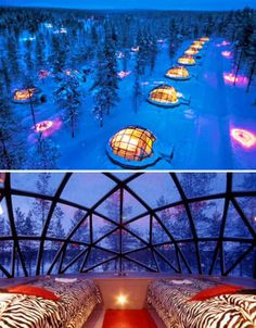Thermal Igloo's in Finland with transparent dome ceielings give visitors a brilliant view of the Northern Lights. The Igloos are situated in Igloo Village of Hotel Kakslauttanen in Finland Places Around The World, Oh The Places You'll Go, Places To Travel, Around The Worlds, Northern Lights Igloo, See The Northern Lights, Dream Vacations, Vacation Spots, Dream Trips