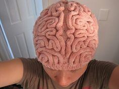 Knitted brain hat.