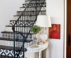 wall-papered stairs