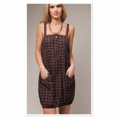 🎉HP🎉BROWN PLAID PINAFORE  DRESS NEW FASHION TREND.  THE PINAFORE DRESS IS IN THIS SEASON Cute piece for summer with wide shoulder strap. Wear with boots and tights a long sleeve tee for fall Boutique Dresses Mini