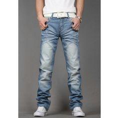 Leisure Washing Newly Fashionable Male Slim Jeans XS/S/M/L/XL/XXL/XXXL... ($42) via Polyvore