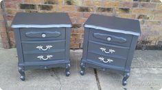 Pewter and Silver Vintage Nightstands