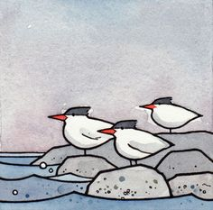 Terns 3x3 Watercolor Illustration Print by studiotuesday on Etsy                                                                                                                                                                                 Mais