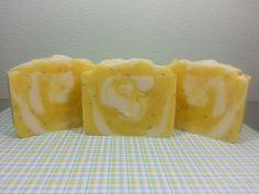 Lemon poppy handmade soap.