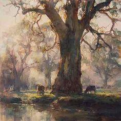 "Internationally Acclaimed Artist JOHN McCARTIN presents ""Kangarilla Mist (Study)"" oil on Belgian Linen x Watercolor Landscape, Landscape Art, Landscape Paintings, Watercolor Paintings, Australian Painting, Australian Artists, Art Gallery, Wow Art, Tree Art"