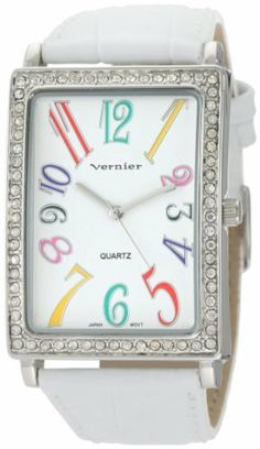 Vernier Women's VNR1032 Rectangular Crystal Leather Strap Quartz Watch Vernier. $26.00. Timepiece features white dial with individually applied multi- tone colorful Arabic numerals; This watch features a crystal bezel all over for a luxurious look. Icon fashion women's wristwatch by Vernier is all about stand-out style. Altogether classy, women's large timepiece is a must-have for any collection. The psychedelic design with its array of rainbow colored Arabic numerals ...