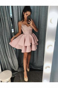 Prom Dresses With Appliques Prom Dresses Short A-Line Prom Dresses Beautiful Prom Dresses Homecoming Dresses 2018 Colorful Prom Dresses, Pink Prom Dresses, A Line Prom Dresses, Grad Dresses, Lace Evening Dresses, Pretty Dresses, Beautiful Dresses, Dress Prom, Dress Lace