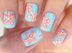 starfish nail art..beach theme & nails. Lets just put my 2 favorite things together!!