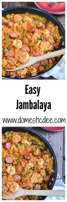 Easy Jambalaya Recipe-This easy jambalaya recipe is a classic dish of Louisiana. It contains turkey smoked sausage, shrimp, and rice with a ton of flavor all while still being an easy jambalaya recipe (Sausage Rice Recipes) Cajun Recipes, Sausage Recipes, Rice Recipes, Seafood Recipes, New Recipes, Dinner Recipes, Favorite Recipes, Healthy Recipes, Haitian Recipes