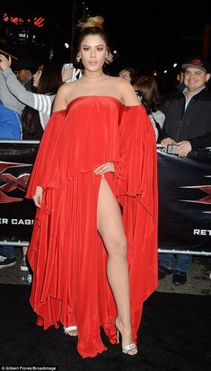 Out there: Naked legs were a theme of the night with Colombian actress Ariadna Gutierrez showing up with her left leg front and center in a scarlet red number