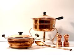 Excited to share this item from my #etsy shop: Vintage 1970s Copper Kitchen Set of 5 – Chafing Dish + Stand, Coppercraft Guild Casserole Server with Fire King Bowl, S+P Set, Serving Spoon #ceramic #vintagekitchen #vintagecopper #copperchafingdish #vintageentertaining #copperservingspoon #coppercraftguild #copperserver #anchorhockingbowl