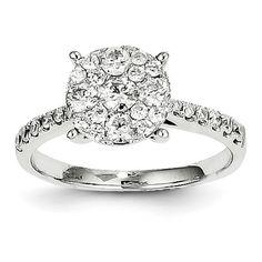 14k White Gold Diamond Round Composite Ring