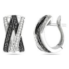 0.25 Ct 14K or Blanc Diamant Noir Screwback Clou Simple Boucle D/'oreille