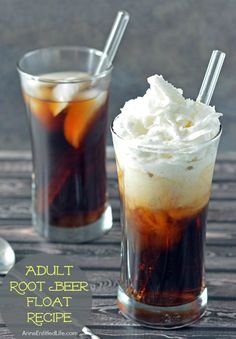 Adult Root Beer Float Recipe;  Decadent, smooth and oh so delicious, this alcoholic root beer float if a fun adult treat on a warm day. If you liked root beer floats as a kid, you are going to love this adult root beer float!
