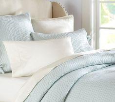 Pick-Stitch Quilt & Sham | Pottery Barn | Porcelain Blue