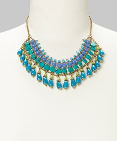 Take+a+look+at+the+Gold+&+Blue+Beaded+Bib+Necklace+on+#zulily+today!