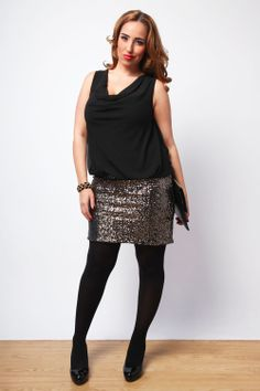 Jada Sezer in Yours Clothing's Black And Bronze 2 In 1 Sequin Skirt Dress