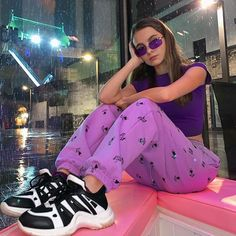 I'm craving purple grapes rn🍇 At the event ( these shoes were gifted but this is not spon)🤡👴🏻 Purple Aesthetic, Aesthetic Girl, Aesthetic Clothes, Purple Outfits, Pretty Outfits, Cool Outfits, Purple Shoes, 2000s Fashion, Look Fashion