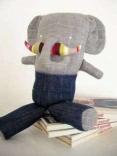 Children's Elephant with mustache  Love!
