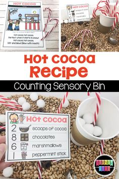 Hot Cocoa Recipe Cards for the Sensory Bin - Winter Activities That Are Snow Much Fun Educational Activities For Preschoolers, Toddler Activities, Learning Activities, Preschool Education, Classroom Activities, Classroom Ideas, Hot Cocoa Recipe, Cocoa Recipes, Orbit Baby