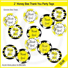 Honey Bee Party Thank You Tags / Printable / by SoozDesignStudio