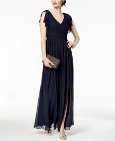 da4b75ea9139 Adrianna Papell Pleated Illusion-Sleeve Gown - Blue 2