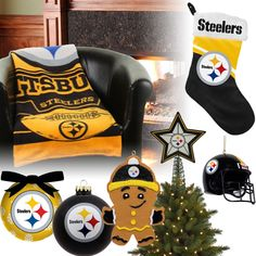 Decorate your tree with Pittsburgh Steelers Christmas Ornaments, a team tree topper, fill your team stocking with goodies, and cozy up in your Steelers blanket. Steelers Gear, Steelers Football, Pittsburgh Steelers, Steelers Stuff, Pencil Christmas Tree, Christmas Trees, Merry Christmas, Vintage Christmas Ornaments, Christmas Stockings