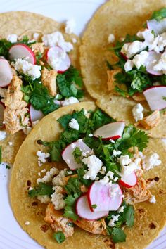 // chicken tacos with radishes