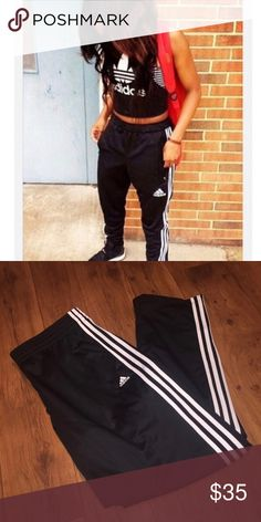 ♠️ ADIDAS black superstar track pants ⚡️Adidas black superstar track Pants  - Solid black - with 3 white stripes logo on thigh, white racing stripes down the sides - Size large, stretchy waistband with draw string, semi loose fit - Athletic, vintage style, slouchy, loose comfortable fit, striate leg fit, light weight, silky jersey material  - Perfect new condition - Purchased from PACSUN - NWOT adidas Pants Track Pants & Joggers