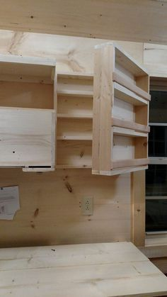 Great for garage or shed. This is clever, storage shelving that hinge-opens to more storage shelving hidden behind. When you don't have more horizontal or vertical space this is so much better than deep shelves that you have to dig through. Tiny House Storage, Shop Storage, Storage Shelves, Storage Ideas, Diy Storage, Cabinet Storage, Creative Storage, Storage Hacks, Makeup Storage
