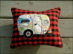 This is adorable!  Little Vintage Camper Pillow, decorative accent pillow. $25.00, via Etsy.