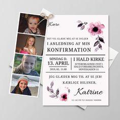 Konfirmationsinvitationer - Få designet din egen skabelon - Se her Christening, Origami, Party, Projects To Try, Baby Shower, Invitations, Creative, Pink, Gifts